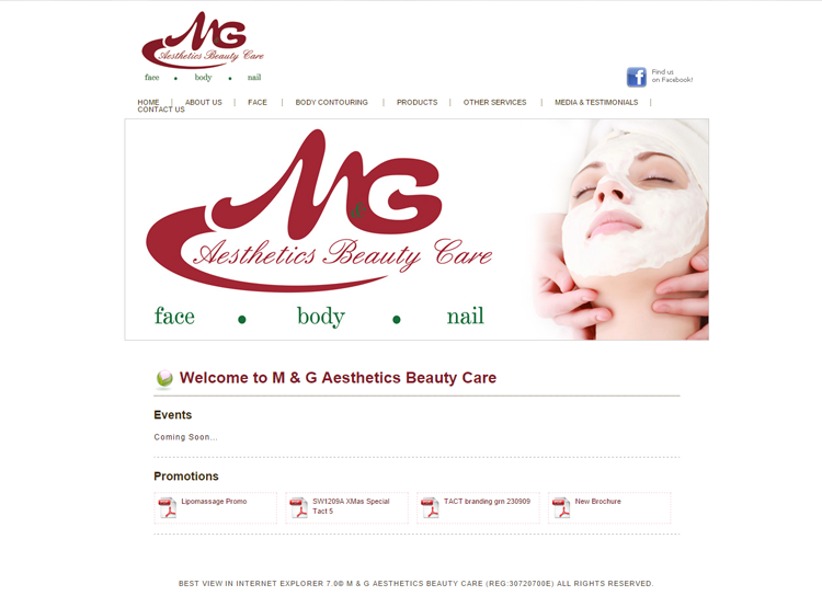 M&G Beauty Website Before