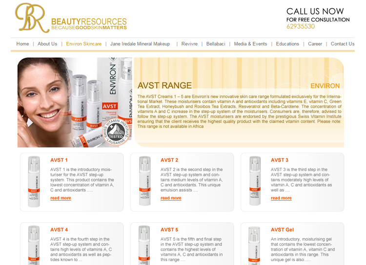 Beauty Resources website old catalog