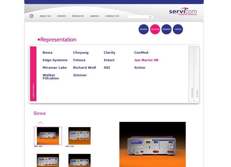 Servicom Medical Website Before