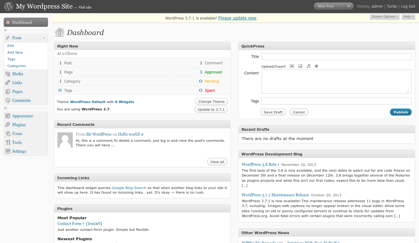 CMS WordPress dashboard